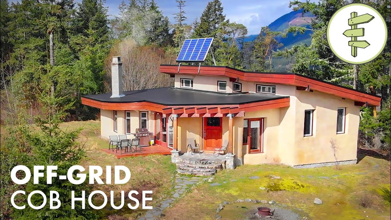 Modern Off-Grid Cob House Built With Sand, Clay & Straw - Sustainable Green Building Tour