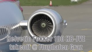 Helvetic Airways Fokker 100 engine start & takeoff @ Flughafen Graz   HB-JVE
