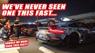 EVIL 900HP PORSCHE GT2RS SMOKES OUR LAMBORGHINI SVJ!  60+ SUPERCARS RACE TO VEGAS AT MIDNIGHT!!