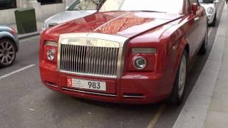 Rolls Royce Phantom Drophead Red with Chrome Windows in Knightsbridge, London