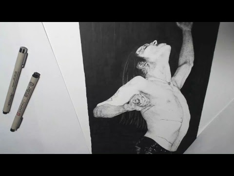 Drawing live Dotwork Black Metal Mayhem