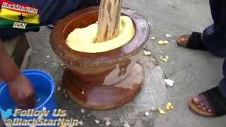 Pounding fufu in Kumasi, Ghana