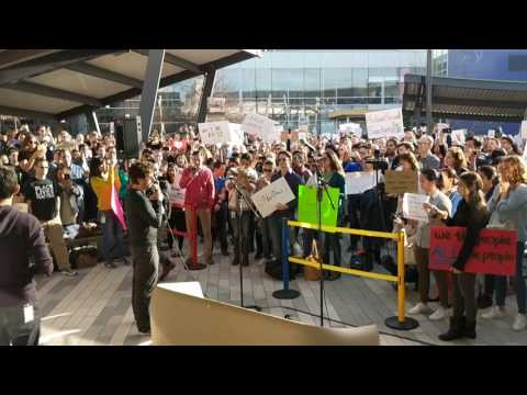 Sergey Brin and Sundar Pichai speaking at the No Ban No Wall rally at Google's HQ