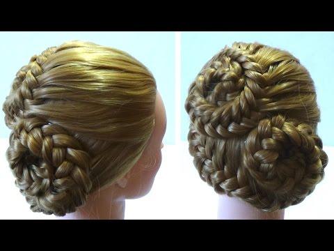 Вечерние прически с плетением на средние волосы фото
