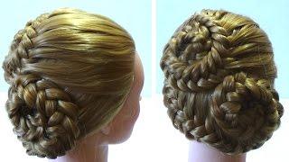Вечерняя прическа с плетением. Плетение кос. Evening hairstyle with braids