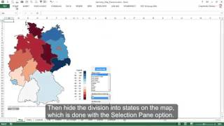 Excel Map Germany (Maps-for-Excel.com) - Choropleth Map for States & Districts and City Bubble Chart