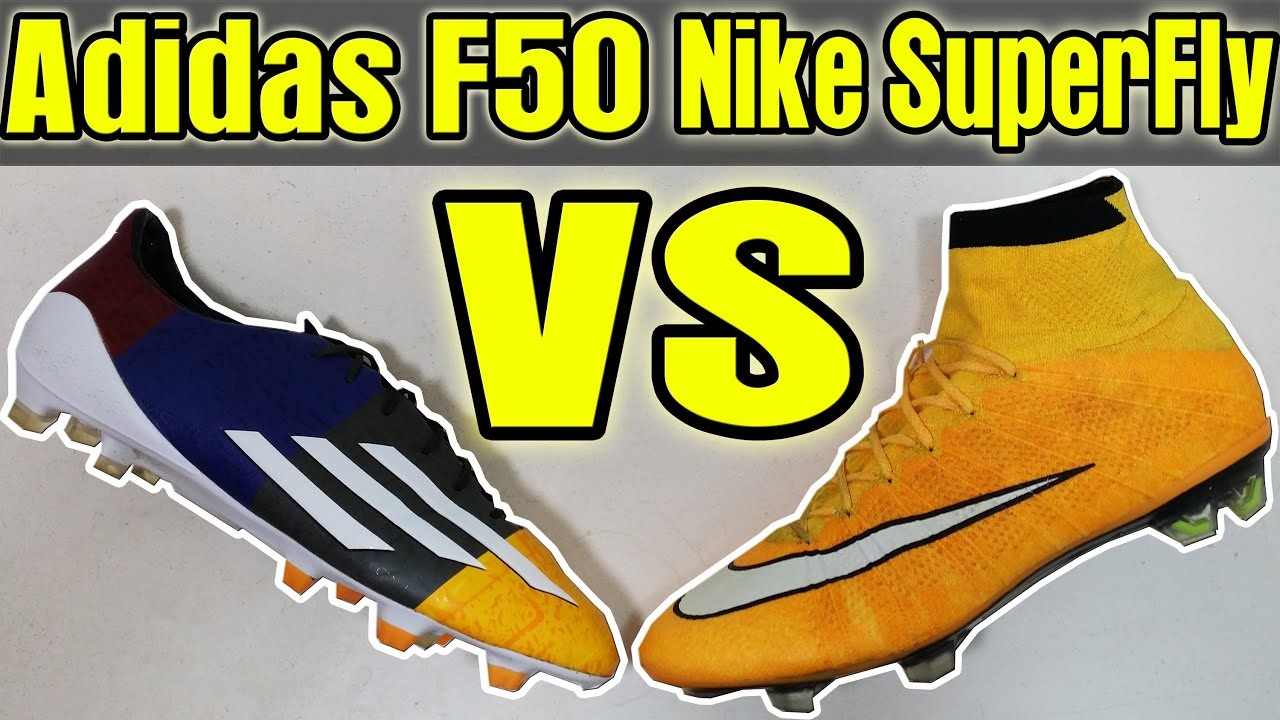 TEST/REVIEW New 2014 CR7 vs Messi Boots: Nike SuperFly 4 vs Adidas F50 +  Comparison - YouTube