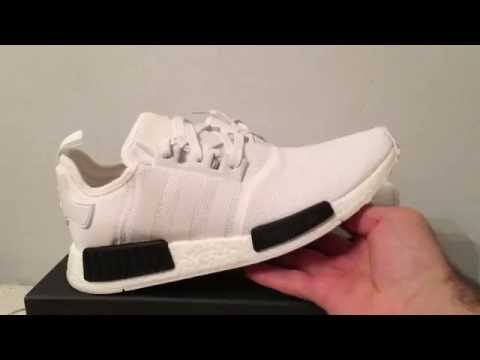 1e82f9e989871 NMD R1 Adidas shoes white black bb1968 - YouTube