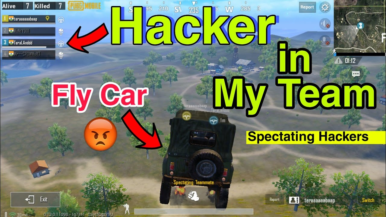 Pubg Mobile Hackers In My Team ! Caught Live Hackers Fly Cars and Jumping? Season 7 SiX9.CrownYT