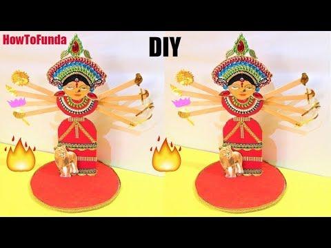 maa durga devi making with cardboard/paper   dussehra festival 2018   navratri   eco friendly