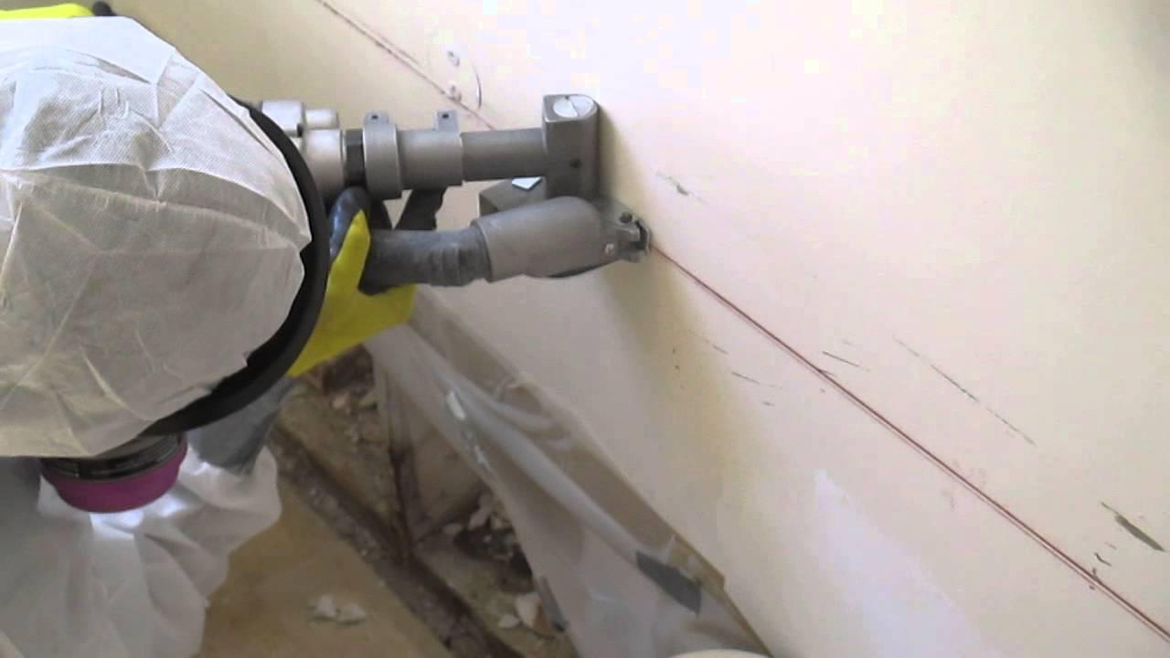 Bathroom  cutting moldy drywall with a Kett saw  YouTube