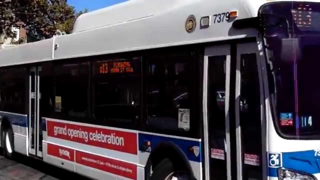 39th avenue-bound xd40 (7379) q13 bus at 37th avenue/138th street