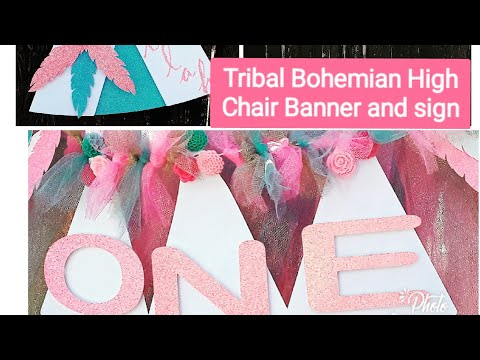 DIY Tribal Bohemian High Chair Banner and sign with Dream catcher backdrop