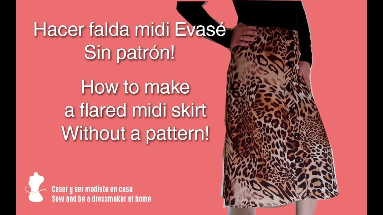 Hacer falda midi Evasé - Sin patrón! - YouTube