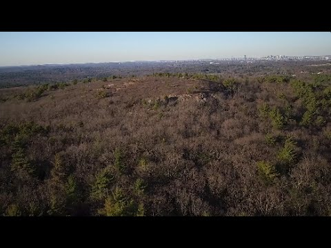 Boston Skyline from the Blue Hills Reservation, Quincy Ma, Drone Footage (Full Flight)
