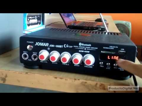 Amplificador 60 watts bluetooth usb microfono karaoke radio eco