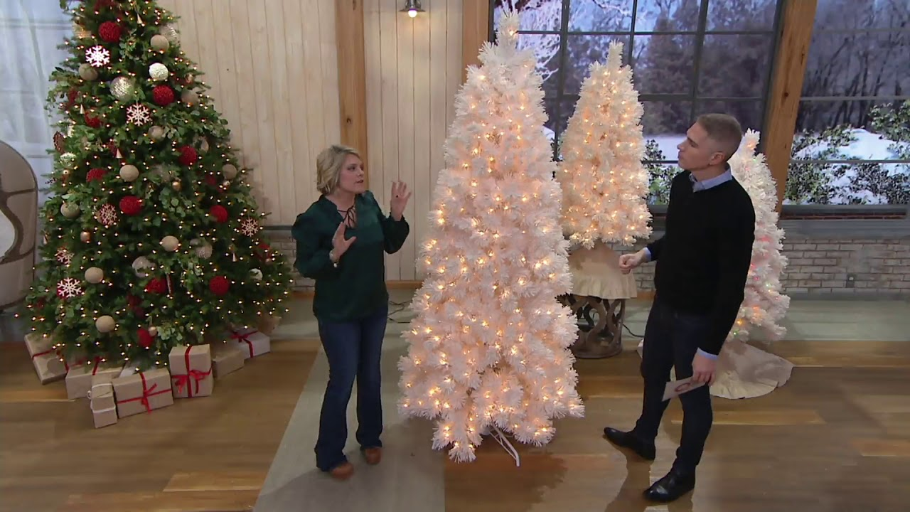 Bethlehem Lights Snowy White Pine Prelit Slim Christmas Tree On Qvc