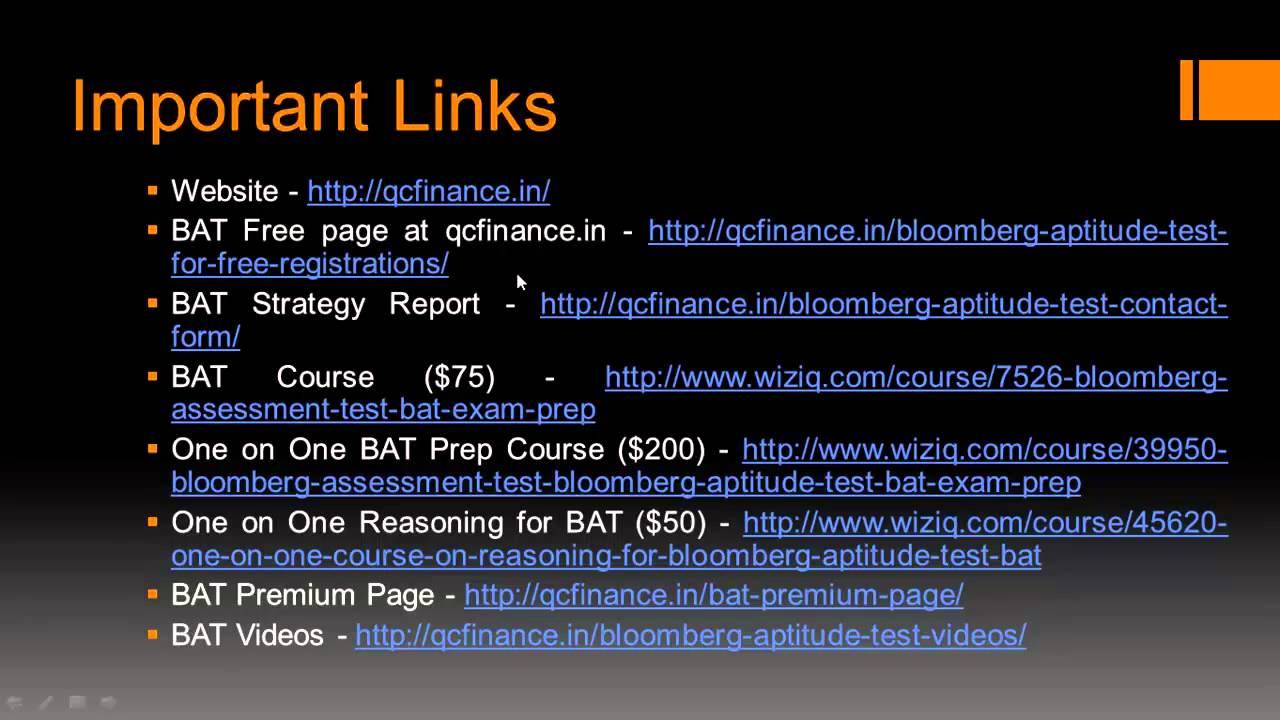 Bloomberg Aptitude Test Exam Prep Course Bat Offerings Youtube