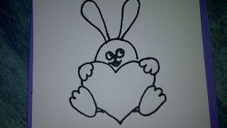 Hase mit Herz zeichnen. Zeichnen + Basteln zum Muttertag, Vatertag oder Geburtstag