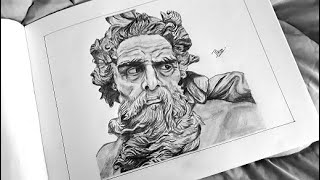 Ancient classic British Statue Sketching |Portrait drawing| Pencil sketch