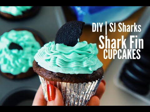 Diy San Jose Sharks Inspired Shark Fin Cupcakes Youtube
