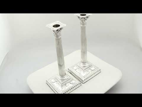 Sterling Silver Corinthian Column Candlesticks - Antique George III (1771) - AC Silver (A9653)