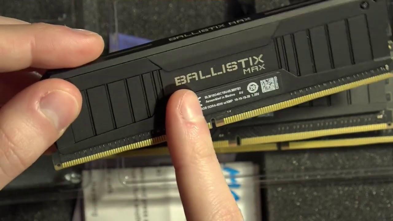 Unboxing the Crucial Ballistix DDR4-5100 memory kit.