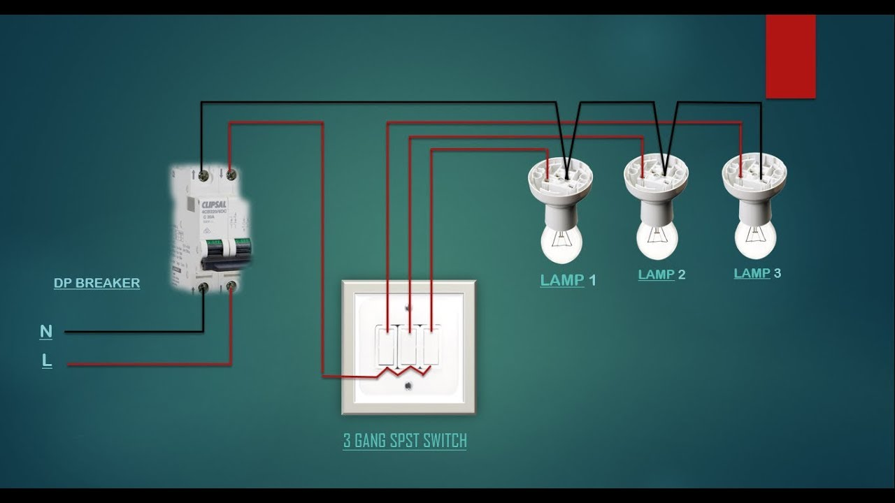 Electrical house wiring 3 gang switch wiring diagram - YouTubeYouTube