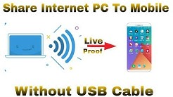 How To Share Internet Connection Form PC To Mobile Without USB Cable    Using PC Wifi Hotspot   