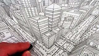 How to Draw a City in 3-Point Perspective