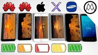 Huawei P20 vs P20 Pro vs iPhone 8 Plus vs S9 Battery Drain Test!