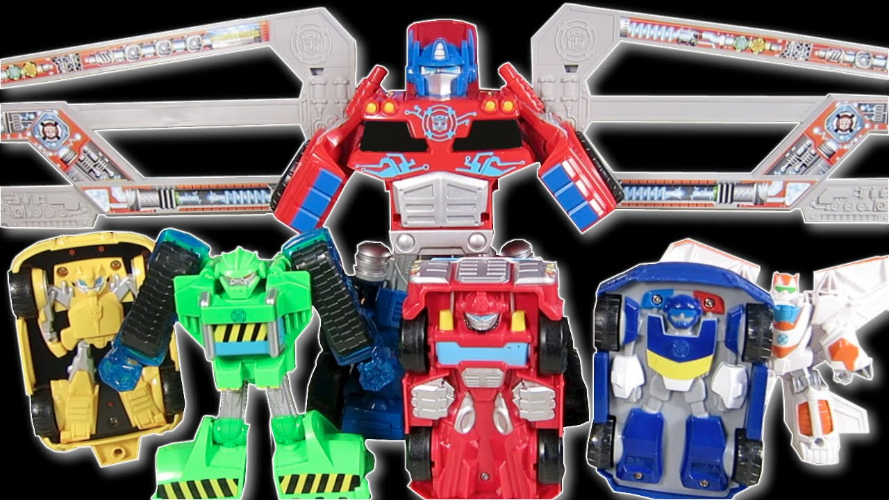 transformers rescue bots optimus prime trailer hauls bumblebee chase