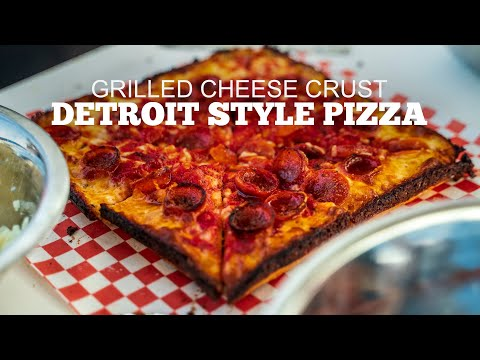 Detroit Style Pizza With Grilled Cheese Crust