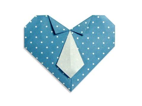 Cách gấp, xếp trái tim thắt caravat bằng giấy origami - Video hướng dẫn