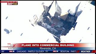F-16 INTO WAREHOUSE: No injuries reported in Riverside, California