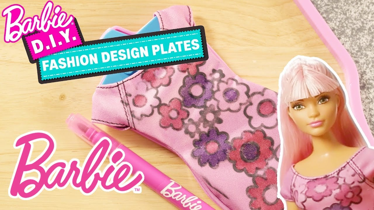 How To Design Clothes With Barbie And The Diy Fashion Design Plates Barbie Youtube