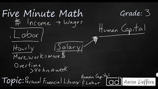 3rd Grade Math Personal Financial Literacy - Human Capital and Labor