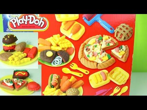Plastilina Play-Doh Pizza Hotdogs Hamburgers French Fries Play Doh Food