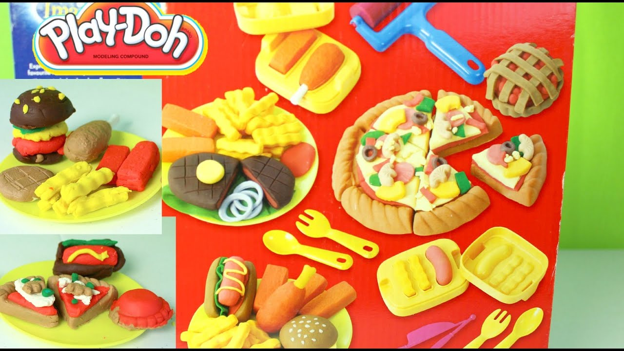 Plastilina play doh pizza hotdogs hamburgers french fries for Play doh cuisine