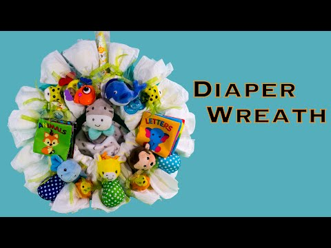 Making Diaper Wreath Baby Shower Gift Diy How To