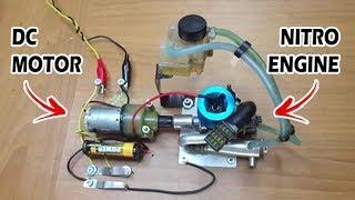 Nitro Engine Moto-Start trying - Nitro motoru DC motorla çalıştırma deneyi