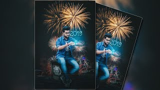 Photoshop Tutorial Happy New Year 2019 poster Design by Massive Editz