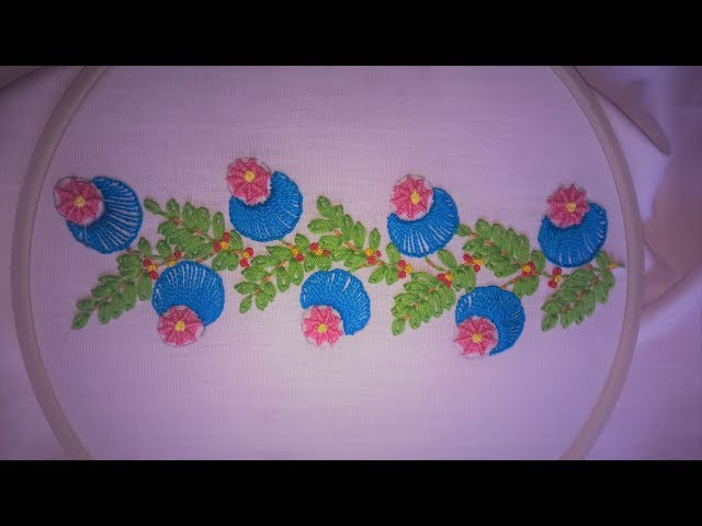 Hand embroidery. Borderline embroidery design.