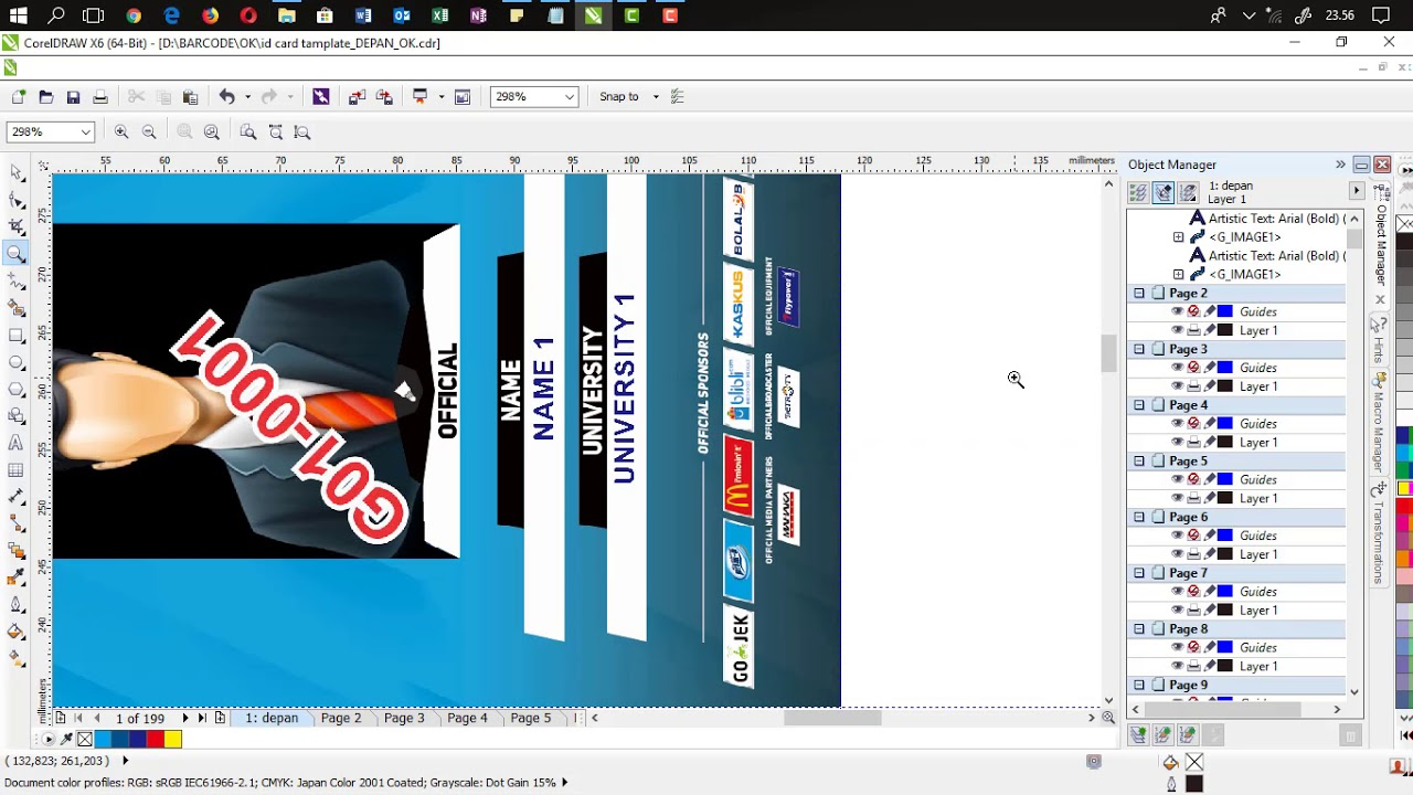 AutoMerger : (Sample ID Card Landscape) Easy & Fast Data Merger to CorelDraw