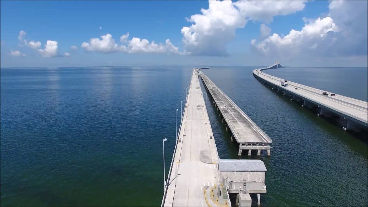 Drone flight over the southern skyway bridge fishing pier for Skyway bridge fishing