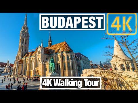 4K City Walks: Budapest, Hungary Fisherman's Bastion To Palace - Virtual Walk Treadmill City Guide