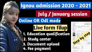 Ignou admission form filup 2021| Ignou MA admission form filup |Ignou January admission 2020- 2021||