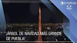 Se enciende el árbol de navidad más grande de Puebla