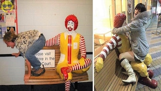 People Having Fun with Ronald McDonald Statues