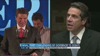 In New York, Perry challenges Cuomo to debate